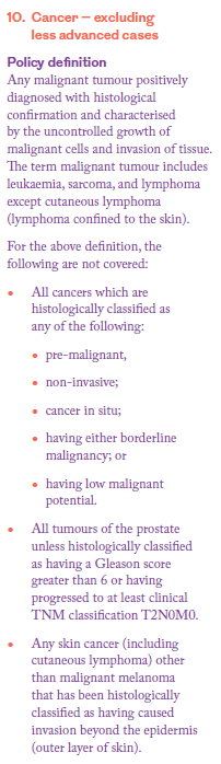 Cancer definition serious illness cover