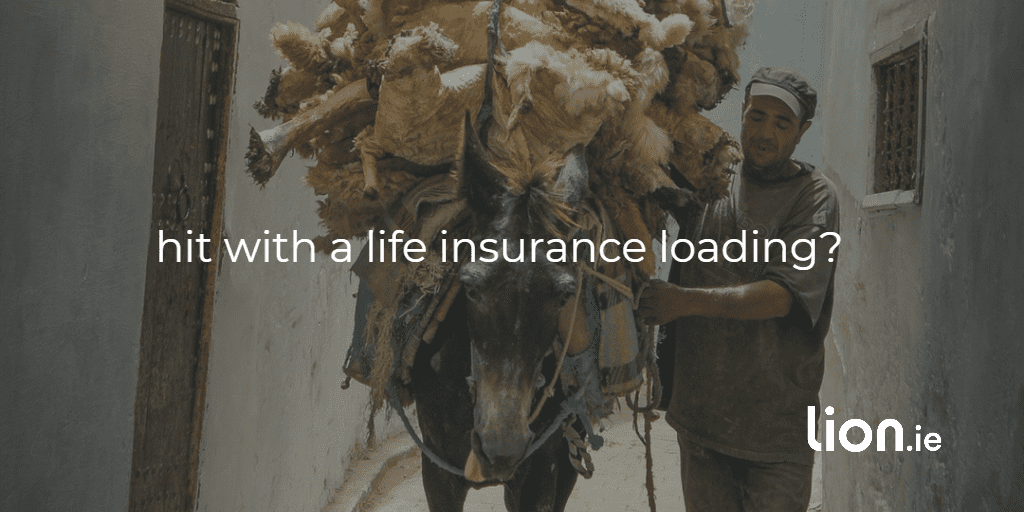 hit with a life insurance loading text on image of an over-loaded donkey