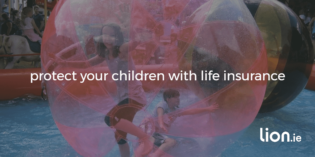 protect your children with life insurance text on an image on two children in a bubble ball