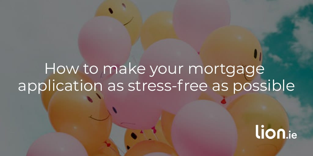 preparing a mortgage application text on smiling balloons