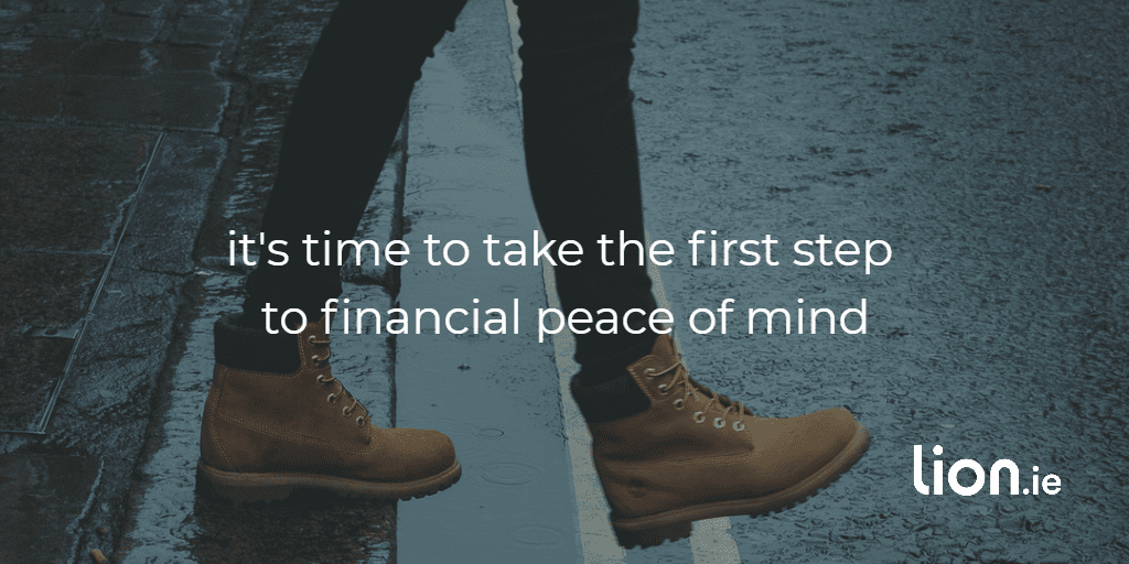 first step to financial peace of mind text on image of person stepping onto road